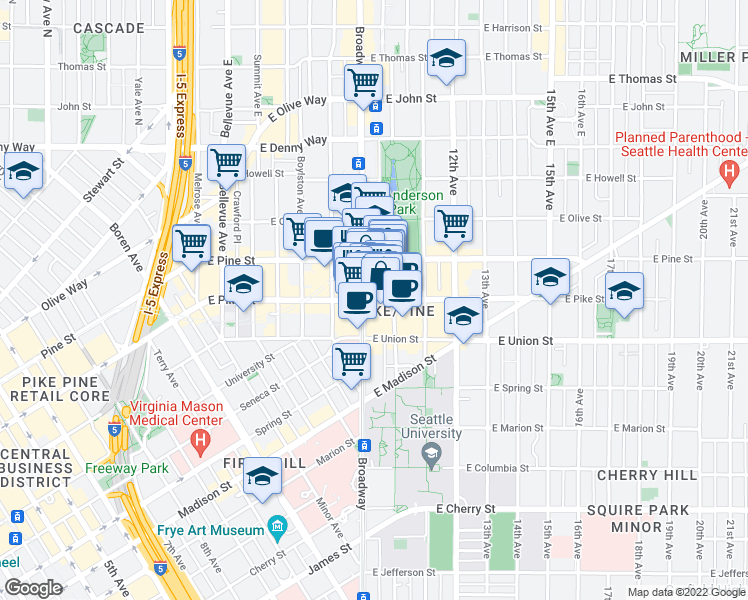 map of restaurants, bars, coffee shops, grocery stores, and more near 907 East Pike Street in Seattle