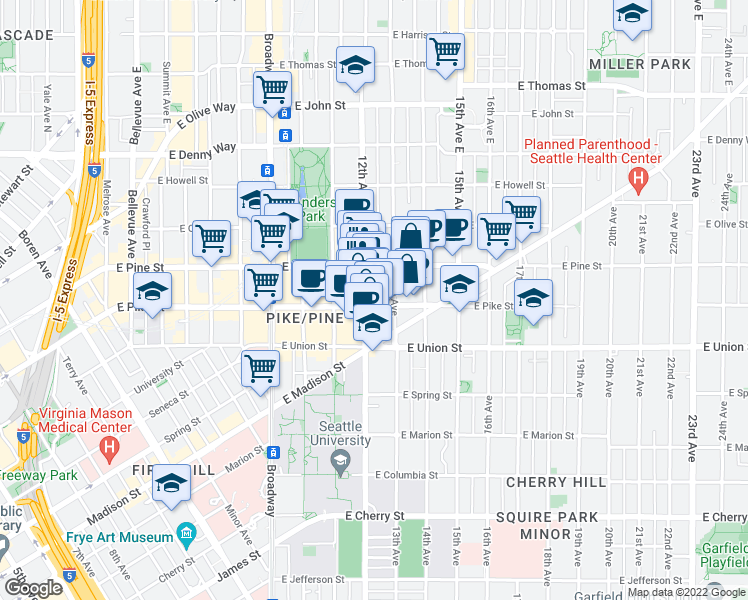 map of restaurants, bars, coffee shops, grocery stores, and more near 1200 East Pike Street in Seattle