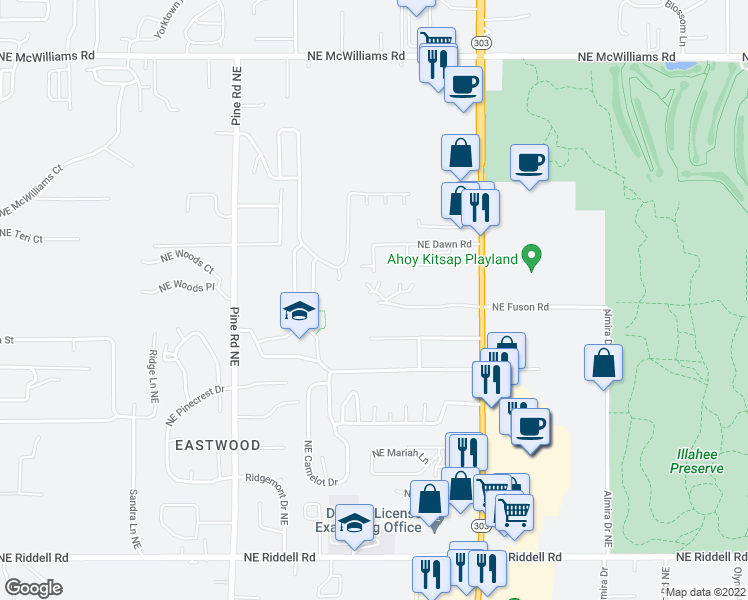 map of restaurants, bars, coffee shops, grocery stores, and more near 5608 Wisteria Lane Northeast in Bremerton