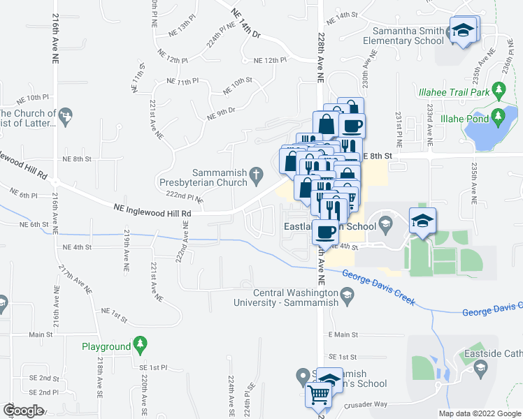 map of restaurants, bars, coffee shops, grocery stores, and more near 555-599 225th Lane Northeast in Sammamish