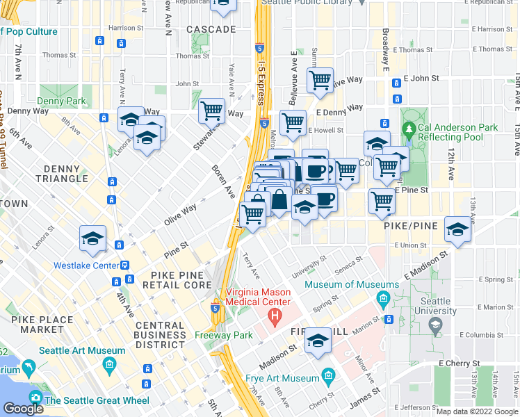 map of restaurants, bars, coffee shops, grocery stores, and more near 1551 Minor Avenue in Seattle