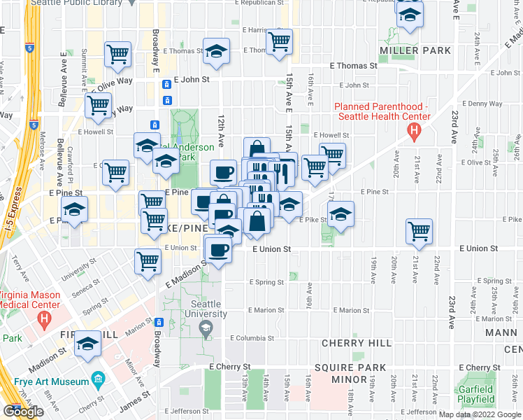 map of restaurants, bars, coffee shops, grocery stores, and more near 1507 14th Avenue in Seattle