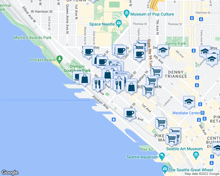 map of restaurants, bars, coffee shops, grocery stores, and more near Western Ave & Vine St in Seattle