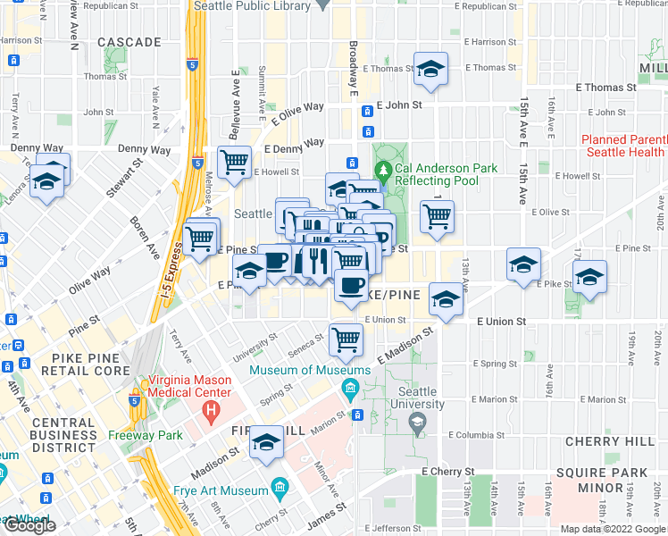 map of restaurants, bars, coffee shops, grocery stores, and more near 1524 Harvard Avenue in Seattle