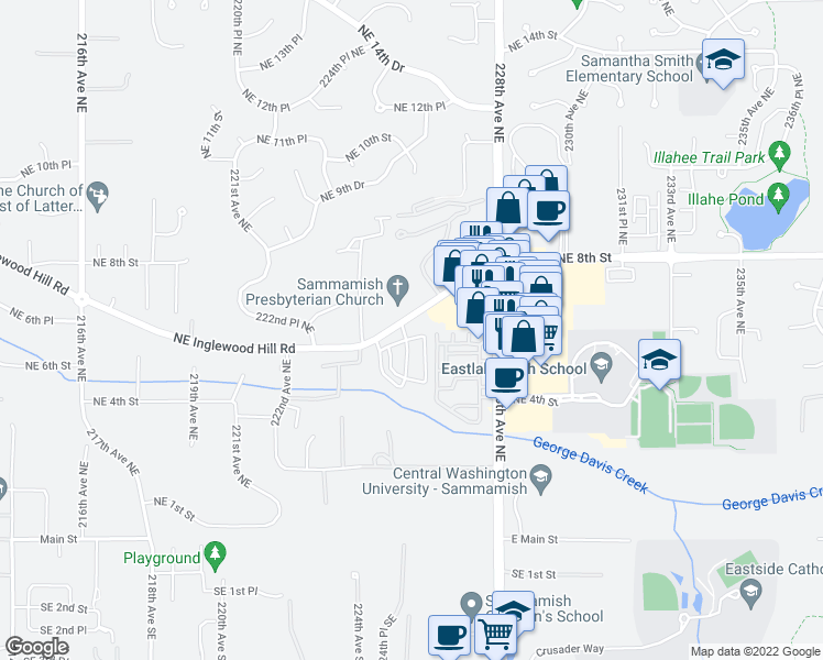 map of restaurants, bars, coffee shops, grocery stores, and more near 564 225th Lane Northeast in Sammamish