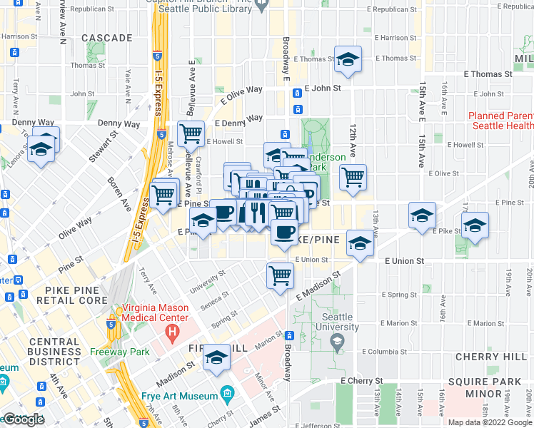 map of restaurants, bars, coffee shops, grocery stores, and more near 1524 Harvard Ave in Seattle