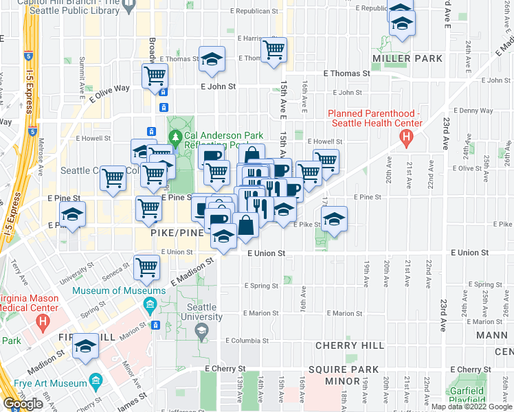 map of restaurants, bars, coffee shops, grocery stores, and more near 1525 14th Avenue in Seattle