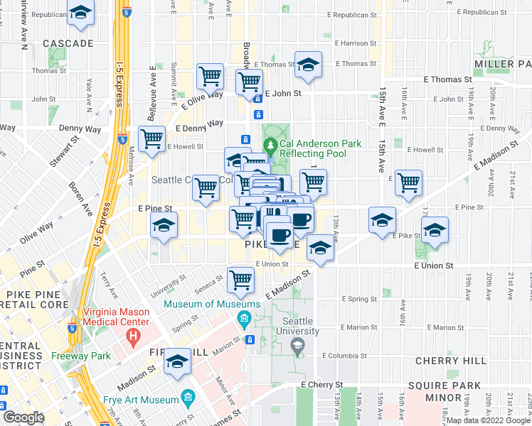map of restaurants, bars, coffee shops, grocery stores, and more near 915 East Pine Street in Seattle