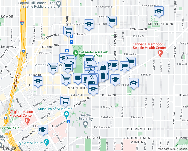 map of restaurants, bars, coffee shops, grocery stores, and more near 1530 12th Avenue in Seattle