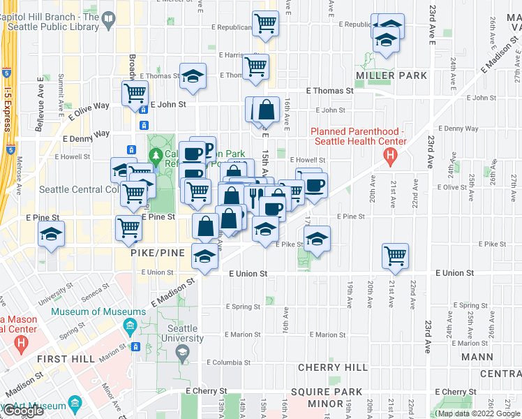 map of restaurants, bars, coffee shops, grocery stores, and more near 1420 East Pine Street in Seattle