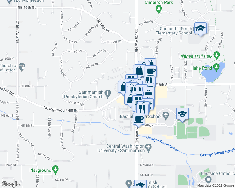 map of restaurants, bars, coffee shops, grocery stores, and more near 22626 Northeast Inglewood Hill Road in Sammamish