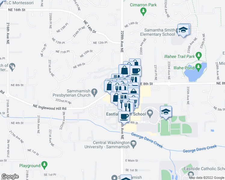 map of restaurants, bars, coffee shops, grocery stores, and more near 22698 Northeast Inglewood Hill Road in Sammamish