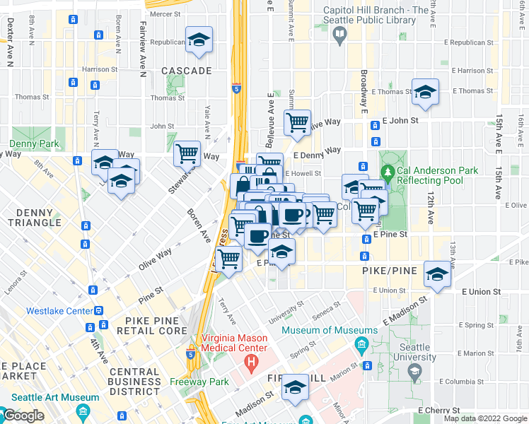 map of restaurants, bars, coffee shops, grocery stores, and more near 1633 Bellevue Avenue in Seattle