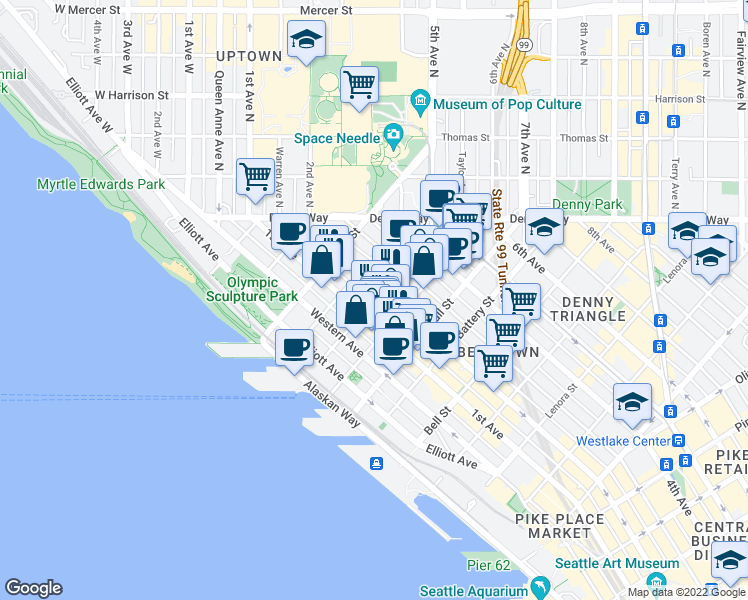 map of restaurants, bars, coffee shops, grocery stores, and more near 160 Cedar St in Seattle