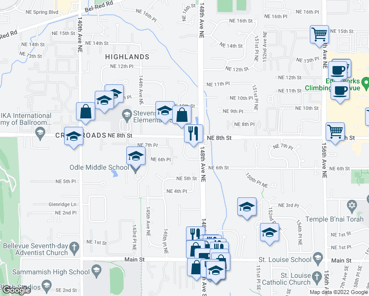 map of restaurants, bars, coffee shops, grocery stores, and more near 623 147th Place Northeast in Bellevue