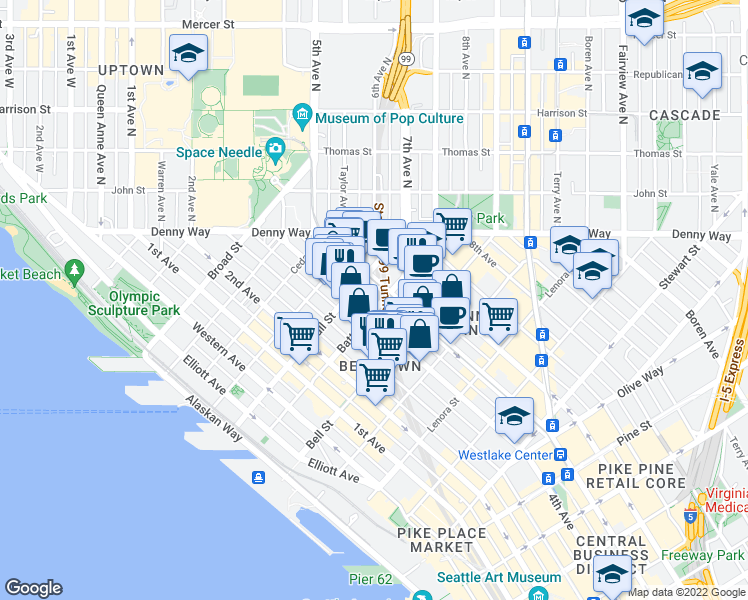 map of restaurants, bars, coffee shops, grocery stores, and more near 2400 4th Avenue in Seattle