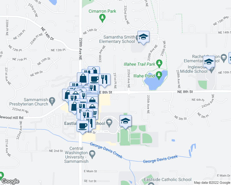 map of restaurants, bars, coffee shops, grocery stores, and more near 23103 Northeast 8th Street in Sammamish