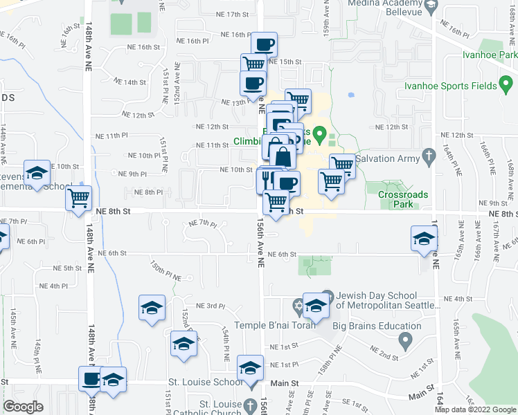 map of restaurants, bars, coffee shops, grocery stores, and more near 805 156th Avenue Northeast in Bellevue