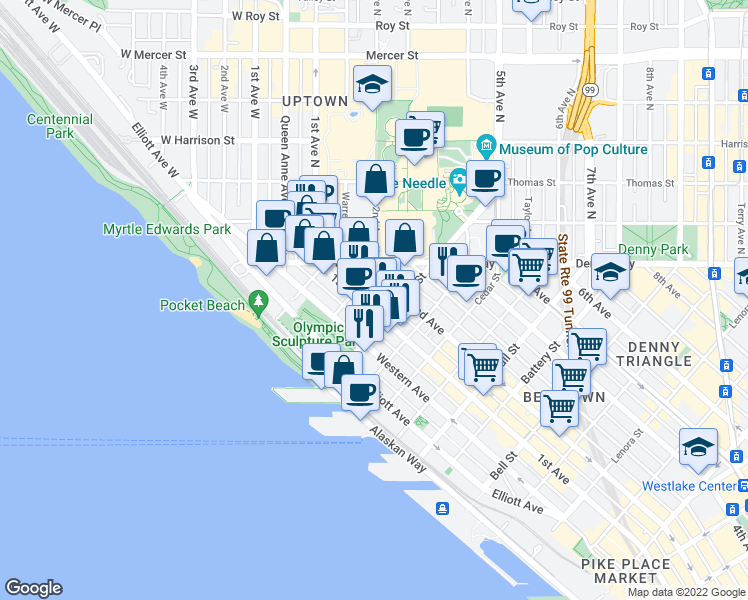 map of restaurants, bars, coffee shops, grocery stores, and more near 2962 1st Avenue in Seattle