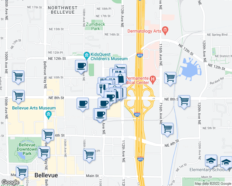 map of restaurants, bars, coffee shops, grocery stores, and more near 958 111th Avenue Northeast in Bellevue