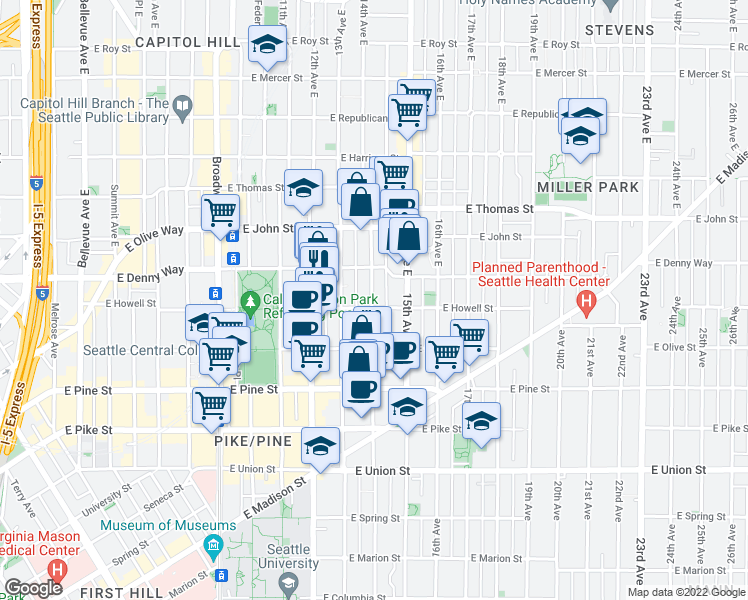 map of restaurants, bars, coffee shops, grocery stores, and more near 1323 East Howell Street in Seattle