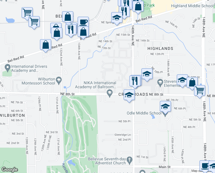 map of restaurants, bars, coffee shops, grocery stores, and more near 898 137th Avenue Northeast in Bellevue