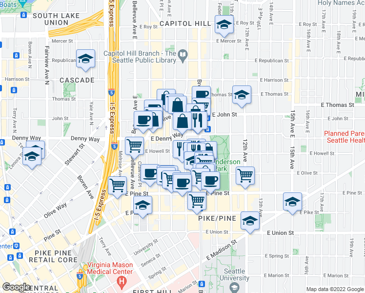 map of restaurants, bars, coffee shops, grocery stores, and more near 1815 Harvard Avenue in Seattle