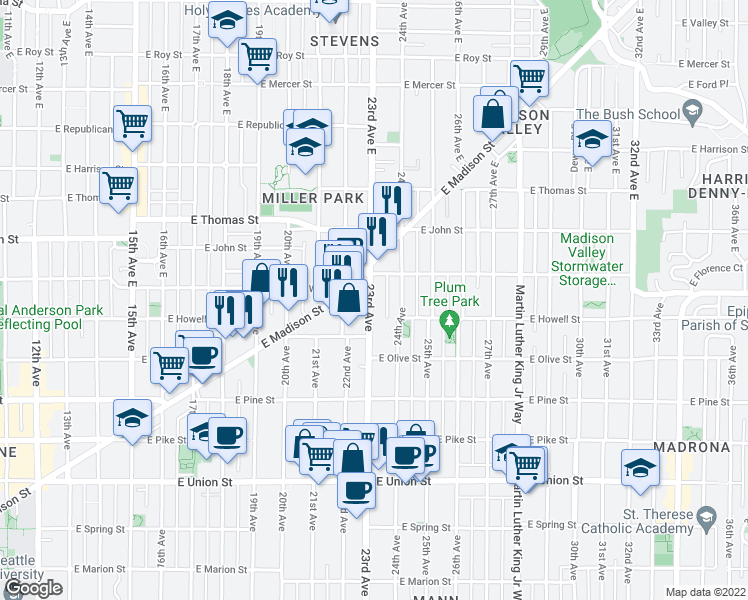 map of restaurants, bars, coffee shops, grocery stores, and more near 23rd Avenue in Seattle