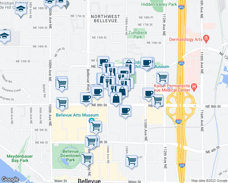 map of restaurants, bars, coffee shops, grocery stores, and more near 10610 Northeast 9th Place in Bellevue