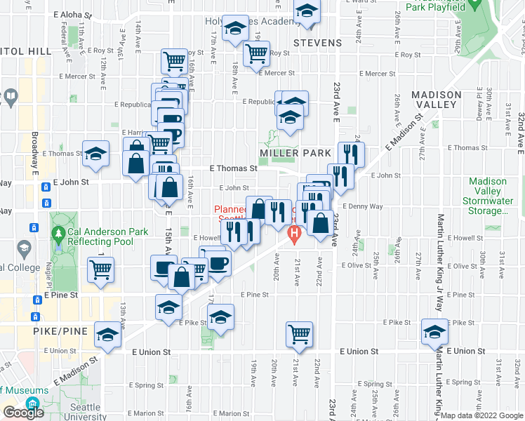 map of restaurants, bars, coffee shops, grocery stores, and more near 106 19th Avenue East in Seattle