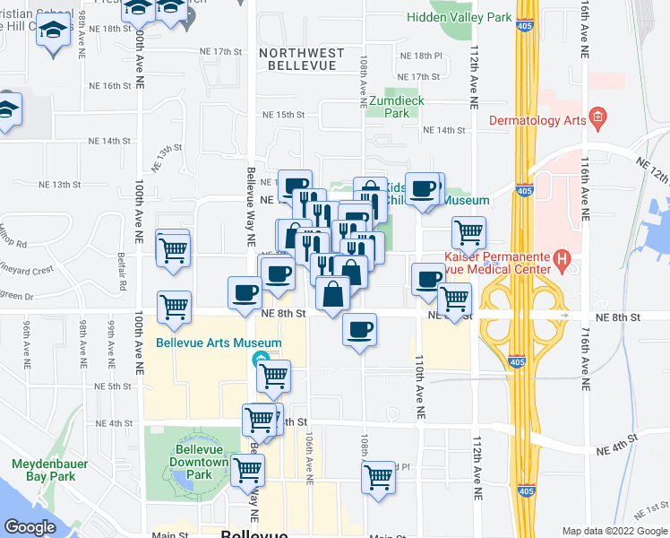map of restaurants, bars, coffee shops, grocery stores, and more near 10650 Northeast 9th Place in Bellevue