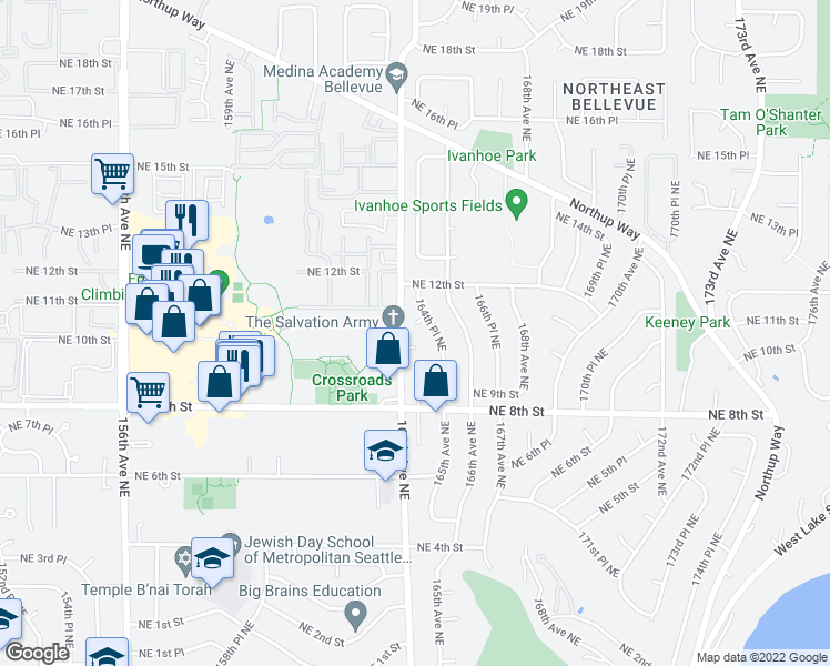 map of restaurants, bars, coffee shops, grocery stores, and more near 16409 Northeast 10th Place in Bellevue