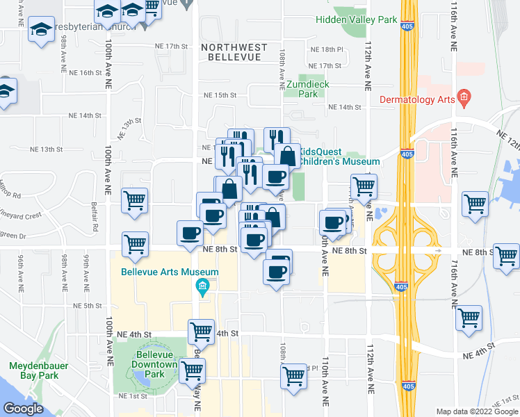 map of restaurants, bars, coffee shops, grocery stores, and more near 10670 Northeast 9th Place in Bellevue