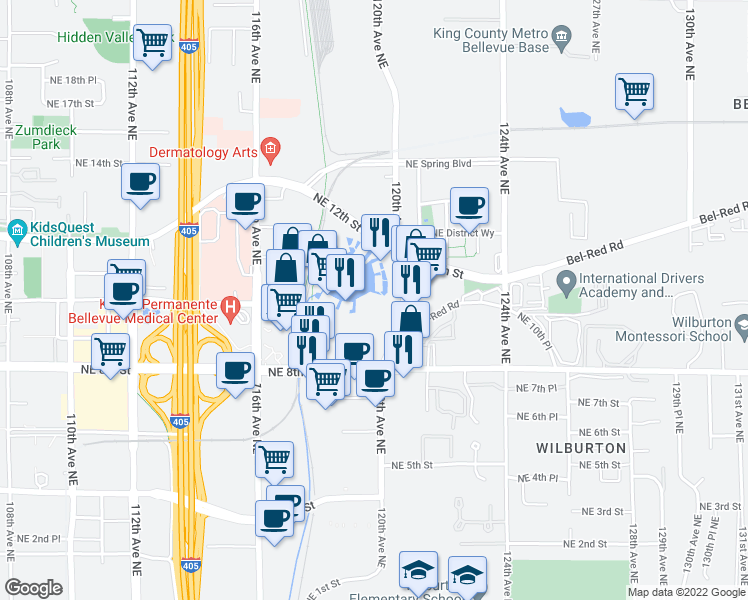 map of restaurants, bars, coffee shops, grocery stores, and more near 40 Lake Bellevue Drive in Bellevue