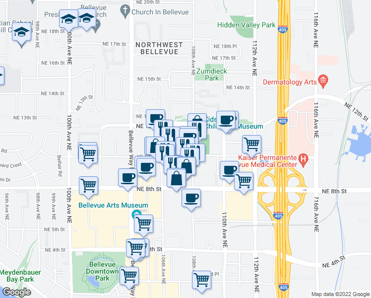 map of restaurants, bars, coffee shops, grocery stores, and more near 10710 Northeast 10th Place in Bellevue