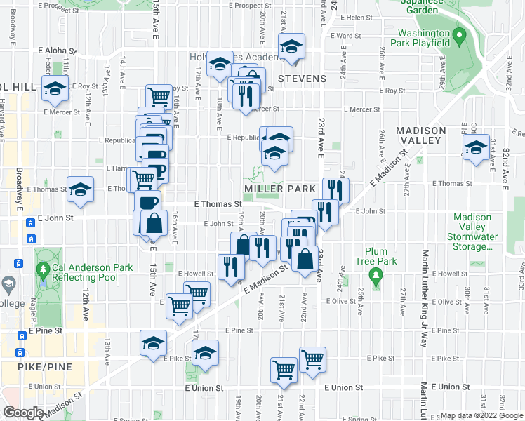 map of restaurants, bars, coffee shops, grocery stores, and more near 2000 East John Street in Seattle