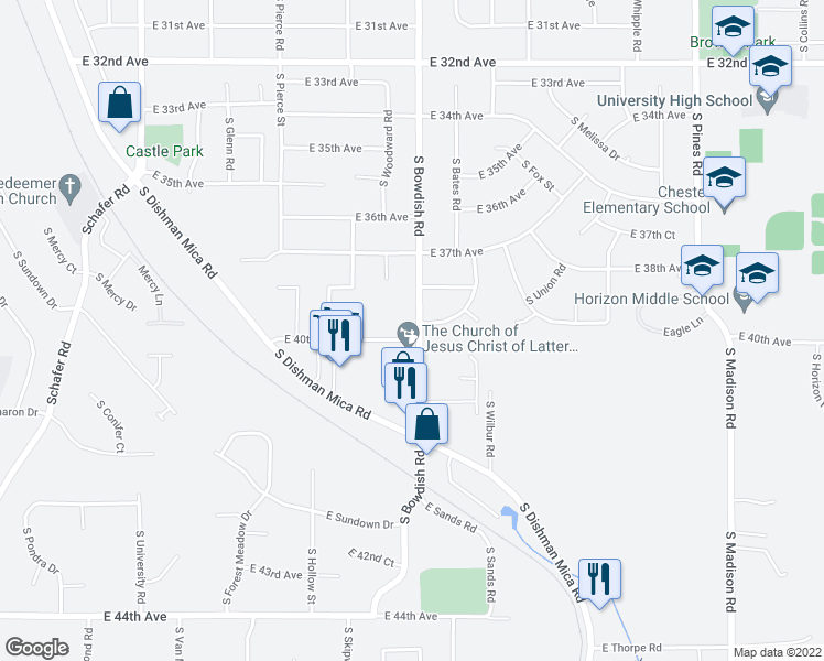 map of restaurants, bars, coffee shops, grocery stores, and more near 3920 South Bowdish Road in Spokane Valley
