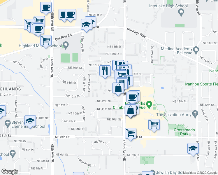 map of restaurants, bars, coffee shops, grocery stores, and more near 1420 154th Avenue Northeast in Bellevue