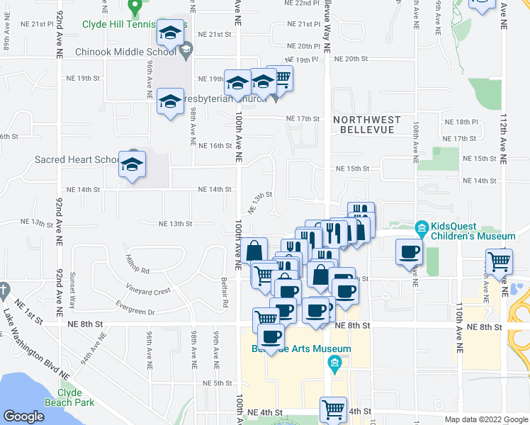 map of restaurants, bars, coffee shops, grocery stores, and more near 1323 102nd Avenue Northeast in Bellevue