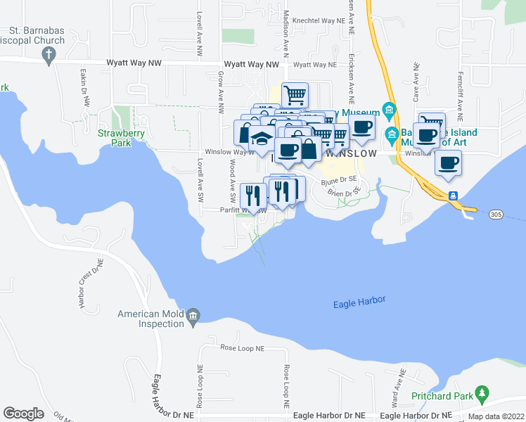 map of restaurants, bars, coffee shops, grocery stores, and more near 231 Parfitt Way Southwest in Bainbridge Island
