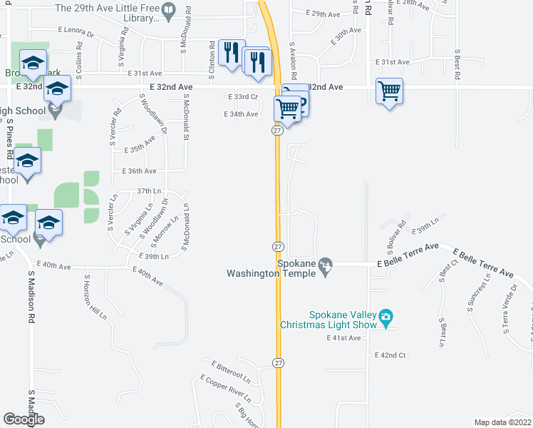 map of restaurants, bars, coffee shops, grocery stores, and more near 3711 S Hwy 27 in Spokane