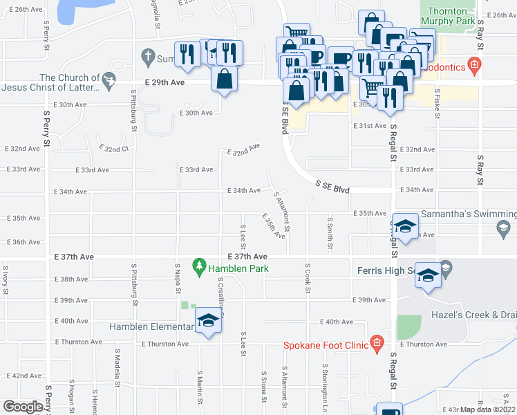 map of restaurants, bars, coffee shops, grocery stores, and more near 2321 East 35th Avenue in Spokane