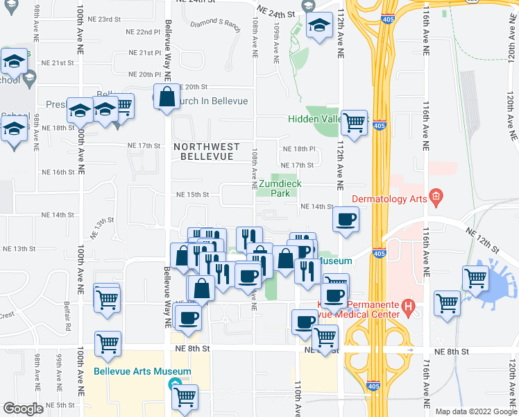 map of restaurants, bars, coffee shops, grocery stores, and more near 1400 108th Avenue Northeast in Bellevue
