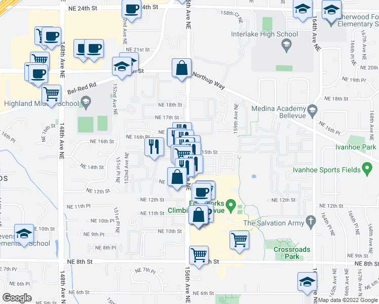 map of restaurants, bars, coffee shops, grocery stores, and more near 1505 156th Avenue Northeast in Bellevue
