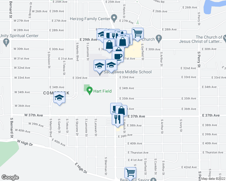 map of restaurants, bars, coffee shops, grocery stores, and more near 3406 South Grand Boulevard in Spokane