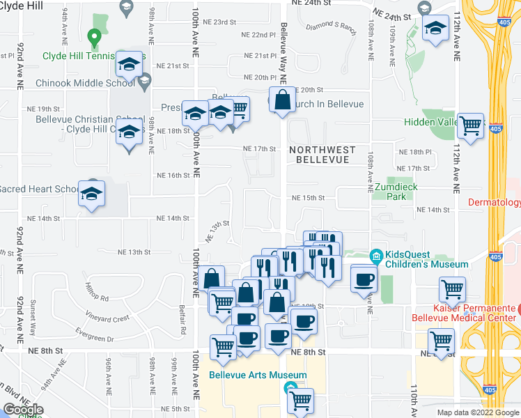 map of restaurants, bars, coffee shops, grocery stores, and more near 1515 Bellevue Way Northeast in Bellevue