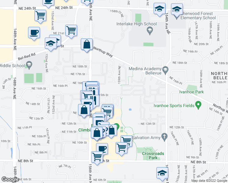 map of restaurants, bars, coffee shops, grocery stores, and more near 15830 Northeast 15th Street in Bellevue