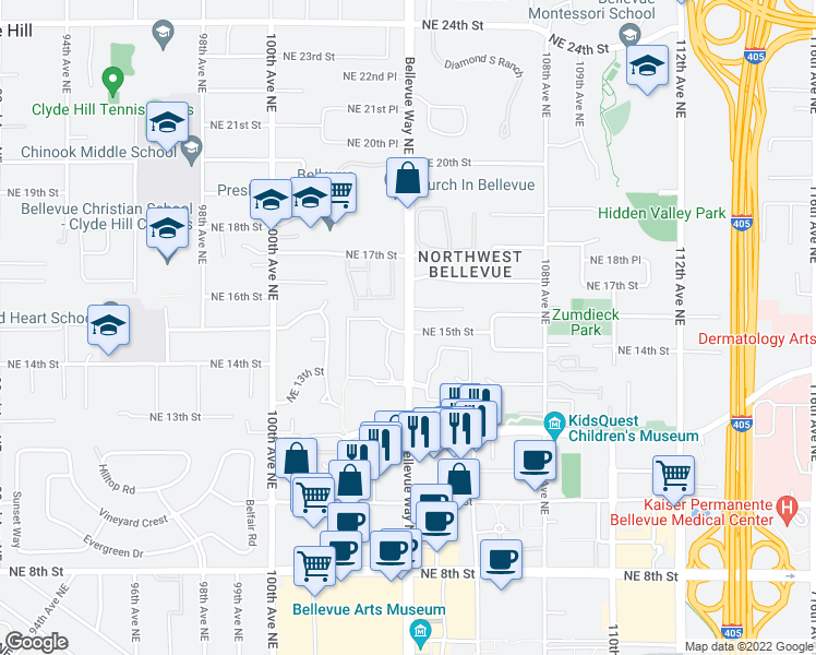 map of restaurants, bars, coffee shops, grocery stores, and more near 1423 104th Avenue Northeast in Bellevue