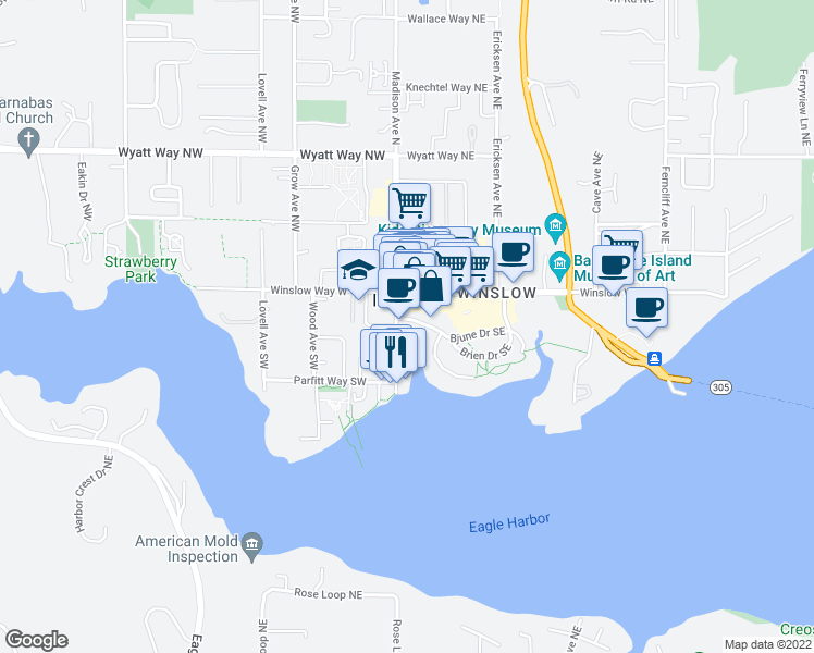 map of restaurants, bars, coffee shops, grocery stores, and more near 123 Bjune Drive Southeast in Bainbridge Island