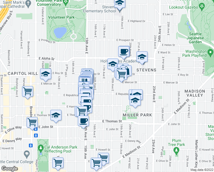 map of restaurants, bars, coffee shops, grocery stores, and more near 526 17th Avenue East in Seattle